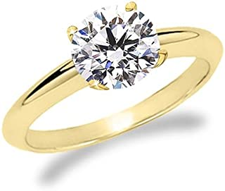 1/4 Carat Round Cut Diamond Solitaire Engagement Ring 14K White Gold 4 Prong (H-I Color, Eye Clean Clarity Center Stones Center Stones)