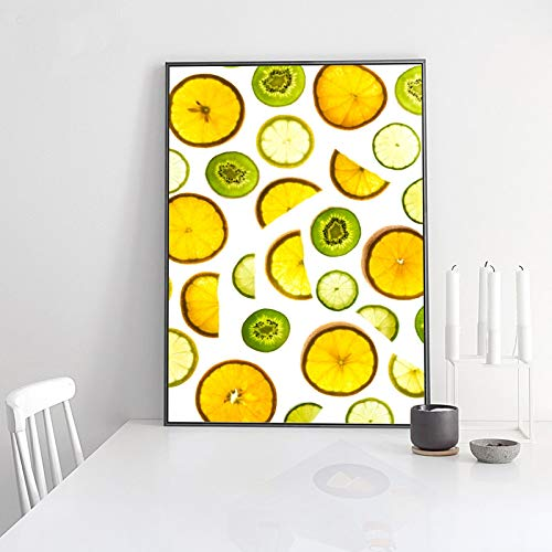 XIANGPEIFBH Refresh Sweet Fruit Slice Canvas Painting Lemon Kiwi Posters Orange Prints Wall Art Pictures for Living Room Home Decor 45x60cm(18'x24') Unframed