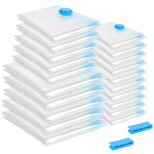 QQGGTongFeng Durable 20Pcs/Set Vacuum Bag Foldable Clothes Storage Bag Transparent Border Large Capacity Compressed Home Organizer for Clothes, Blankets, (Color : White)