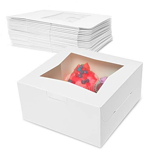 COYMOS Cake Boxes with Window-25 PCS 6x6x3' White Bakery Boxes Square Cake Box with Transparent Window, Auto-Popup Disposable Cake Paper Box for Cupcake, Cookies, Pie, Donuts and Other Pastries
