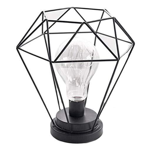 LIOOBO Lampe de Table en métal de Nuit de Noël lumière de Fer Art Lampe de Nuit Creuse Cadeaux décoration pour Banquet Maison Parti de Bureau (Diamant)