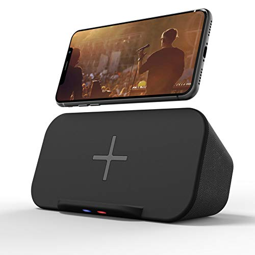 Bluetooth Speaker with Wireless Charger Stand, Premium Stereo Sound Speaker 18 Hours Playtime, 2 in 1 Home Audio Player Qi Charger Charging Compatible with iPhone, Samsung, Qi-Enabled Phones (Black)