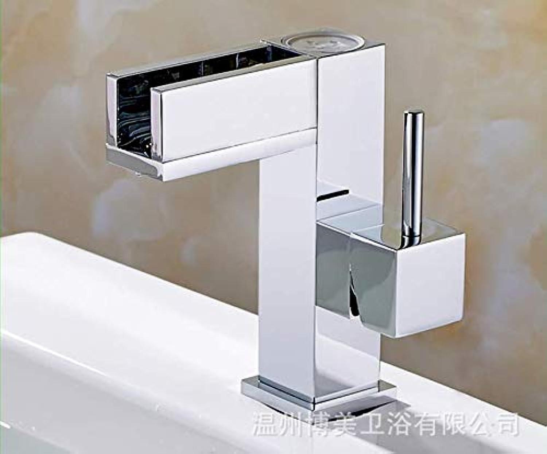 redOOY All copper LED bathroom basin temperature control three-color faucet bathroom vanity basin hot and cold faucet