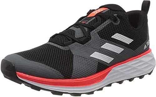adidas Terrex Two, Chaussure de Piste d'athlétisme Homme, Noir Noir/Blanc FTWR/Rouge Solaire, 42 EU