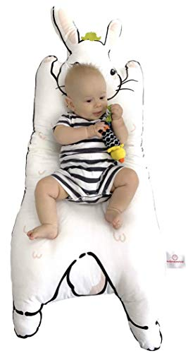 Review Kulpepperkid - 100% Organic Cotton Plush Baby Play Mat & Lounger - Rabbit Themed Animal Showe...