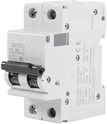 Disyuntor miniatura Disyuntor DC 1 ud. Disyuntor de aire en miniatura de baja tensión 2P de 250 V DC Interruptor de energía solar 16A / 32A / 63A (63A) -16A-16A Alta sensibilidad, respuesta rápida