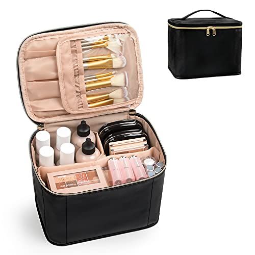 Makeup Bag,Cosmetic Bags for Women Travel Makeup Organizer Bag, Large Capacity Makeup Case with Divider and Handle for Cosmetics Toiletries Brushes Tools -Black