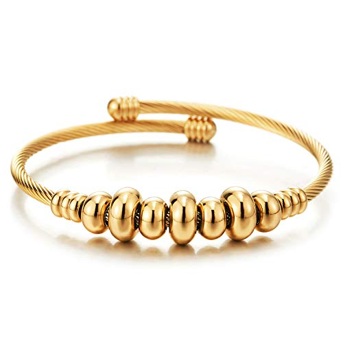 COOLSTEELANDBEYOND Elastic Adjustable Women Gold Stainless Steel Twisted Cable Bangle Cuff Bracelet with Beads String