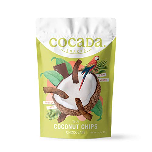 Cocada Snacks - Chips de Coco con Chocolate | Snack Natural Tostado | Apto para Veganos | Sin Gluten | Paquete de 40g