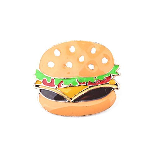 JTXZD Broche Hamburger Pizza Fries Hot Dog dijen van kip in hemd emaille pin hoed kraag decoratie broches Fast Food