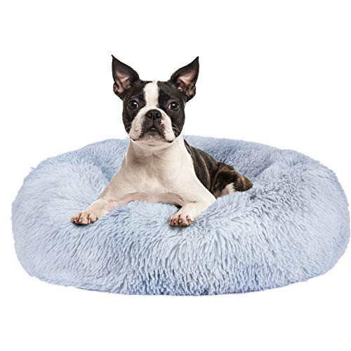 FURTIME Calming Dog Bed Cat Bed Donut Cuddler 16/20/23/30inch Round Anti-Slip Faux Fur Pet Bed for Small Medium Dogs and Cats Anti-Anxiety Fluffy Puppy Bed Washable Orthopedic Dog Bed with Muti-Color