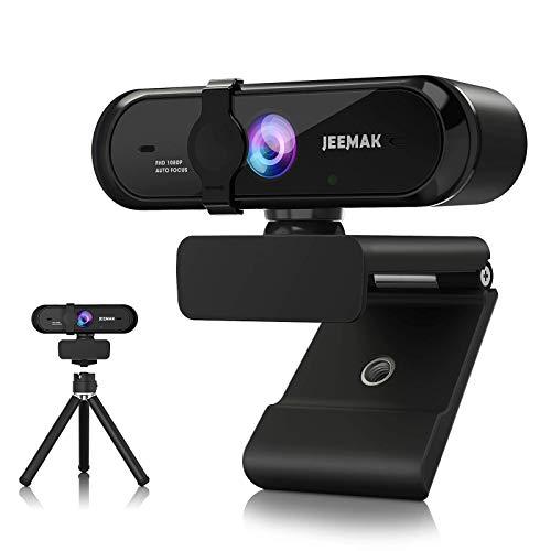 JEEMAK Webcam mit Mikrofon Autofokus 1080P, USB Webkamera mit Privacy-Schutzabdeckung und Stativ kompatibel mit PC, für Live-Streaming, Videochat, Konferenz, Online-Unterricht, Spiel