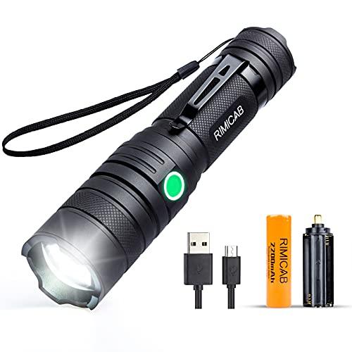 Linterna táctica LED RIMICAB, recargable por USB, compatible con 18650 (incluida) y batería AAA, 5 modos de zoom, linterna impermeable IPX6, linterna de bolsillo para senderismo, camping, emergencia