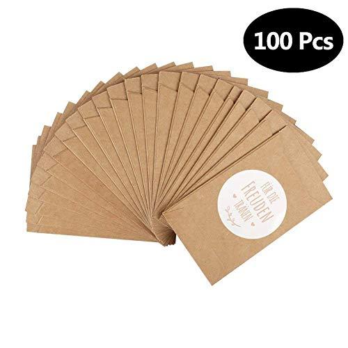 100 Stück Freudentränen Geschenktüten & Sticker Mini Vintage Kraftpapier Papiertüten Flachbeutel Tüten für Taschentücher zur Hochzeit Gift environmentally friendly