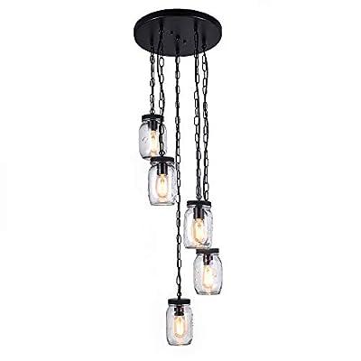 Lingkai Glass Shade Jar Pendant Light Close to Ceiling Light Modern Kitchen Island Light Fixture