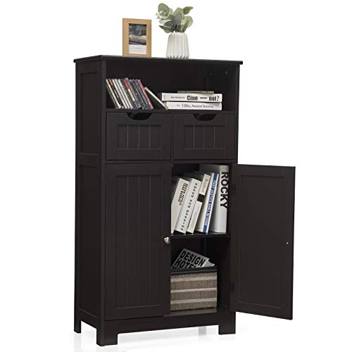Tangkula Bathroom Floor Cabinet, Storage Cabinet w/One Open Shelf Two Doors and Two Adjustable Drawers, Standing Cupboard for Kitchen, Cabinet for Living Room Bathroom Bedroom Home Office (Espresso)