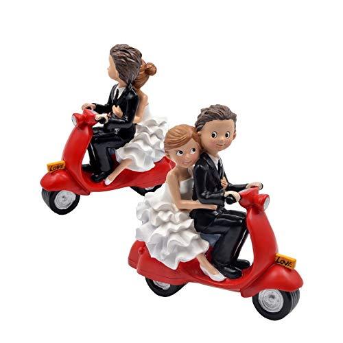 Figura Decorativa de Resina para Tarta de Bodas'Novios en Moto Vespa Roja'. Recuerdos. Decoración. Regalos Originales. Detalles de Bodas, Comuniones, Bautizos, Cumpleaños.CC