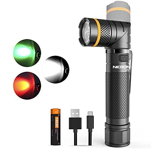 NICRON LED Taschenlampe USB C Aufladbare 90 Grad Drehbar Kopf, 1200 Lumen Weißlicht 10 Lumen Rotlicht, IP65 Wasserdicht für Jagd Outdoor mit Magnet und 18650 Wiederaufladbar Batterie B70