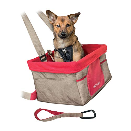 Kurgo Dog Car Seat | Pet Booster Seat | Carabiner for Safety | for Pets - Dogs Under 30 lbs | Rover | Skybox | Heather | Journey | Hangs on Seat | Sits on Seat (Hangs from Seat, Heather Nutmeg Khaki)