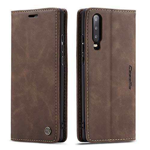 QLTYPRI Hülle für Huawei P30, Vintage Dünne Handyhülle mit Kartenfach Geldtasche Standfunktion PU Ledertasche TPU Bumper Flip Schutzhülle Kompatibel mit Huawei P30 - Kaffee Braun
