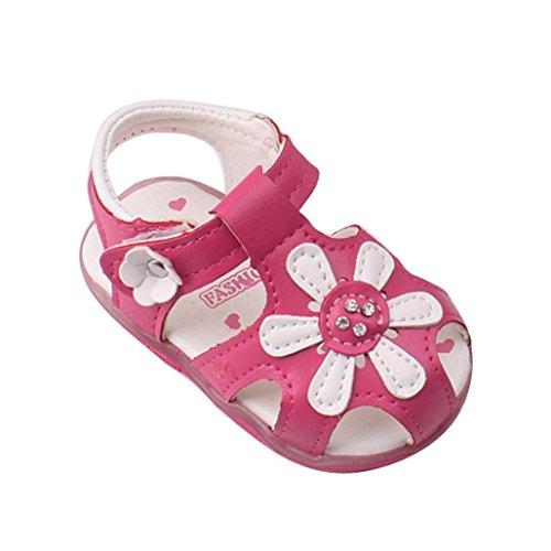 Amlaiworld Babyschuhe, Kleinkind Sonnenblumen Mädchen Sandalen beleuchtet Prinzessin Schuhe mit weichen Sohlen (19, Hot Pink)
