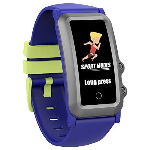 AUPALLA - Rilevatore di attività per bambini, con cardiofrequenzimetro, monitoraggio del sonno, sveglia (blu + bianco)