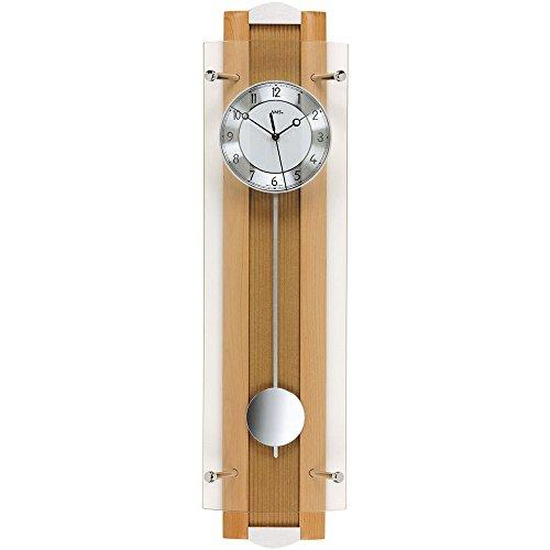 Wandklok - AMS radiografische wandklok met slinger houten beuken massief hangklok glas