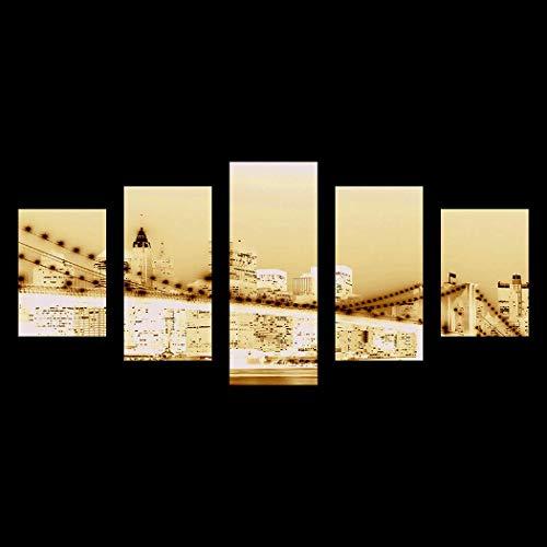 Sivane 5 Piezas de Arte de Pared de Lienzo para Sala de Estar Impresiones de Lienzo Decoración del hogar sin Marco Pinturas artísticas