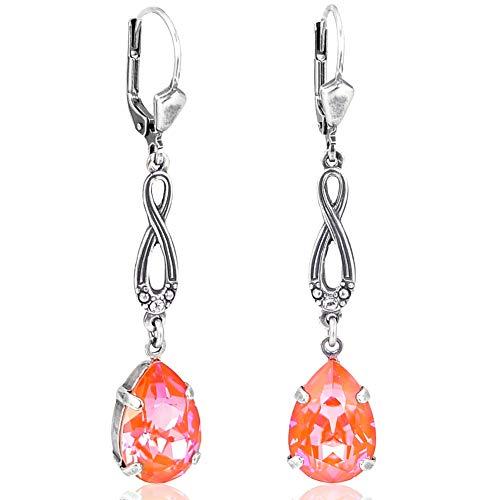 Jugendstil Ohrringe Silber Orange mit Kristallen von Swarovski® NOBEL SCHMUCK