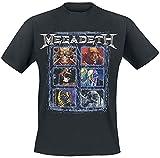 Megadeth Vic Heads Grid Hombre Camiseta Negro M, 100% algodón, Ancho