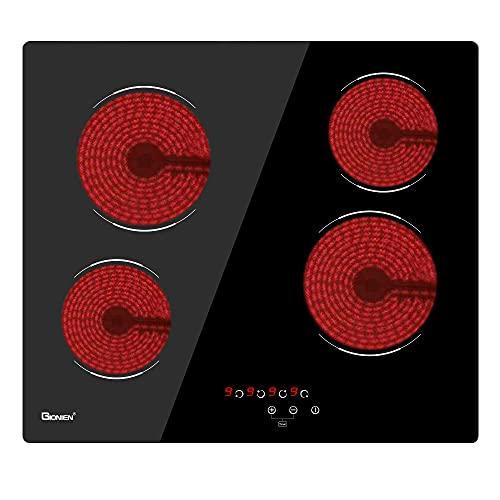 GIONIEN Bruciatore per Piano Cottura Elettrico 60 cm in vetroceramica, Piano Cottura in Vetro Nero Incorporato con 4 Zone Cottura GCE460TC