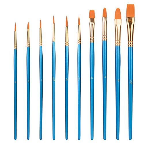 Amazon Basics - Set di pennelli per dipingere, 10 diverse misure, per artisti, adulti e bambini