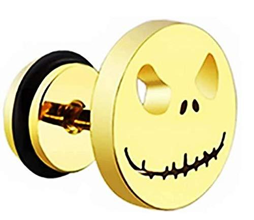 forbestest 1 pendiente de calavera antialérgica para hombres y niños, diseño de calavera punk, acero inoxidable (10x10mm, 1pcs&oro)