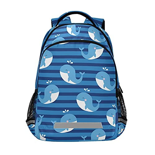 Mochila para ordenador portátil para niñas y niños escolares, duradera ballena con rayas azules con tira reflectante de 42,4 x 29,5 x 17,5 cm