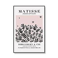 アンリ・マティス女性の顔の線画リーフプリントプリントとポスター展抽象芸術フレームレスキャンバス絵画 no.4 70x100cm