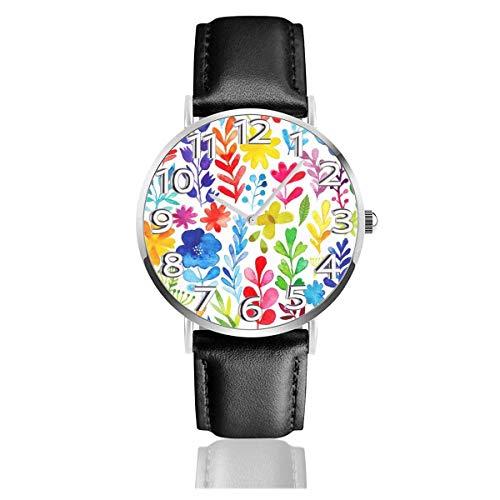 Reloj de Pulsera Follaje de Color arcoíris en Acuarela - Correa de Cuero sintético Duradero Relojes de Negocios de Cuarzo Reloj de Pulsera Informal Unisex