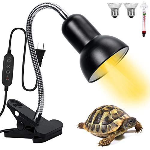 Timeable Reptile Heat Lamp with Dimmable Switch,Basking Spot Heat Lamp for Animal Enclosures & Aquariums w/360° Rotatable Arm & Heavy-Duty Clamp