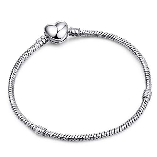 Pulsera Brazalete, Joyeria Regalo, Vintage Silver Plated Charm Bracelet European Style Snake Chain Fit DIY Fine Bracelets For Women Jewelry Type 7 21cm