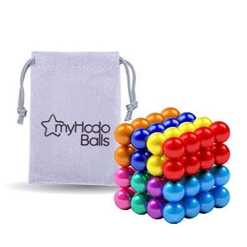 Billes Magnétiques 5mm myHodo, Gadget Insolite et Polyvalent, Idéal Cadeau Anti-Stress, 64 Boules Aimantées, Magnet Balls, Aimants Puissants pour Réfrigérateur et Tableau Magnétique (8 couleurs)