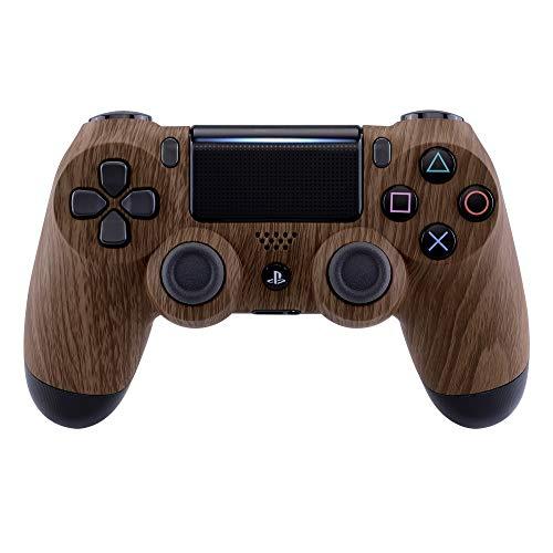 eXtremeRate Coque Avant,Boîtier Housse Remplacement pour Playstation 4 PS4 Slim PS4 Pro Manette Contrôleur (CUH-ZCT2 JDM-040 JDM-050 JDM-055) - Grain de Bois
