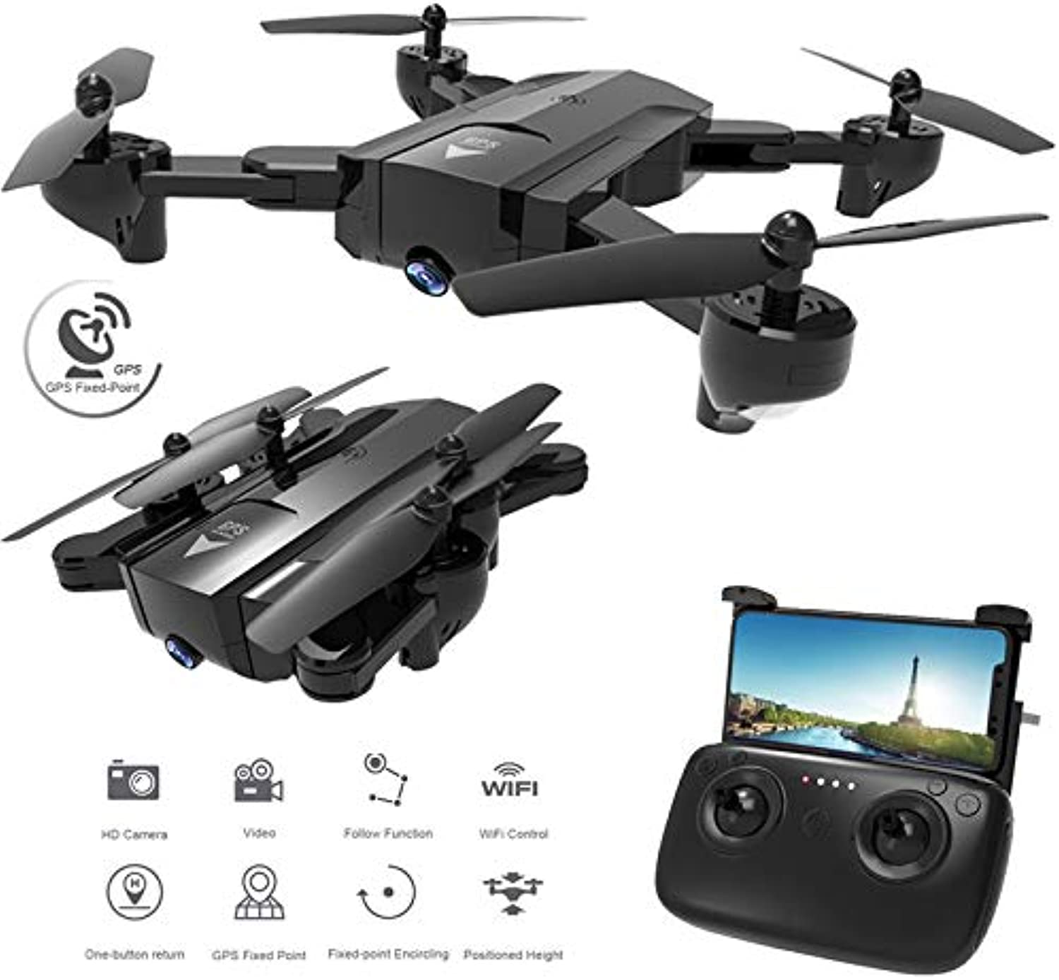 Mengen88 Luft-Quadcopter FPV RC WiFi Drone Foldable Arms 1080P HD Camera 6-Axis Gyroskop Headless Mode One-Tasten-Take-Off , für Kinder & Anfnger