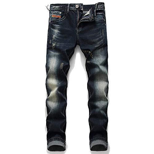 N\P Hombres Slim Jeans Cremallera Pantalones Vaqueros Rectos Gentleman Negro Agujero Jeans