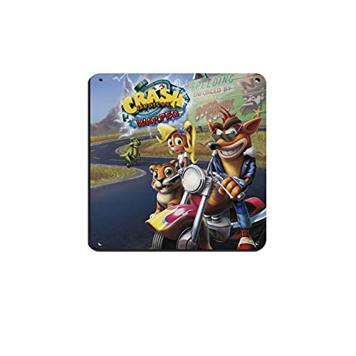 Crash Bandicoot Warped Game 1 Plaque en métal vintage pour pub, club, café, bar, décoration murale 30 × 30 cm