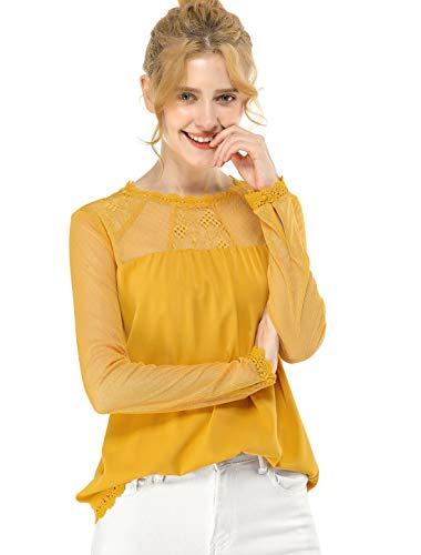 Allegra K Camisa De Gasa Top Panel Floral De Encaje Cuello Redondo Blusa Campesina Mangas Largas para Mujeres Amarillo L