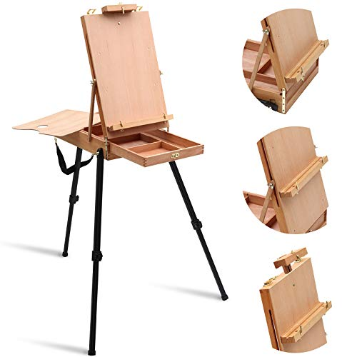 Falling in Art Light Weight French Style Field and Sketchebox Ease with Aluminum Tripod, Adjustable Beechwood Tripod Standing Easel with Drawer, Palette