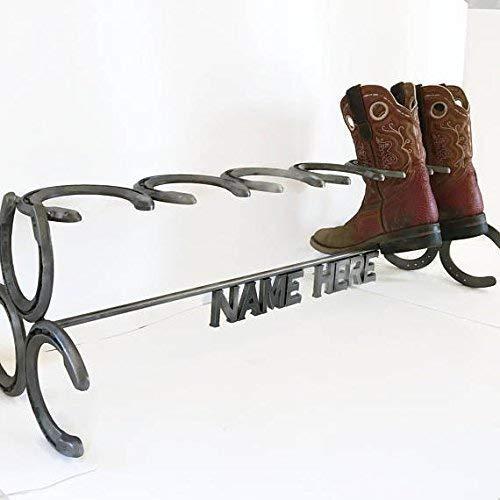 Rustic Custom Name Horseshoe Boot Rack - The Heritage Forge
