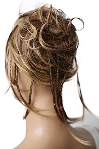 PRETTYSHOP XXL Haarteil Haargummi Hochsteckfrisuren Brautfrisuren Voluminös Gewellt Unordentlich Dutt Braun Blond Mix G18D