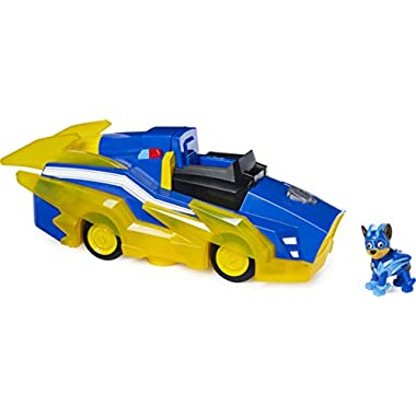 Paw Patrol, Mighty Pups Charged Up Chase Transforming Deluxe Vehicle Preschool Toy with Lights and Sounds