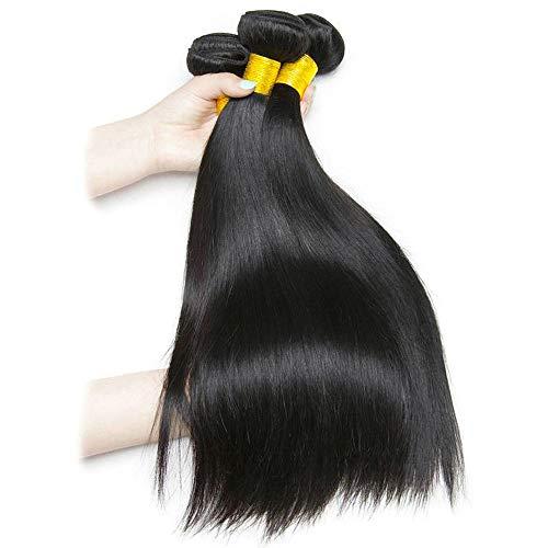 Lot de 6 extensions de cheveux humains lisses 8 A non transformés, couleur naturelle, extensions de cheveux en vrac, 20,3 à 71,1 cm, couleur naturelle, tissage doux et épais