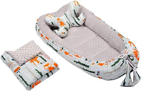 Baby Nestchen + Kissen Decke 3tlg Kokon Nest Babynest Reisebett Wickelauflage Babydecke Kuschelnest (Grau/Wald)